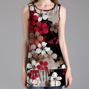 Sleeveless Floral Ruffle Hem Tunic - Plus Size